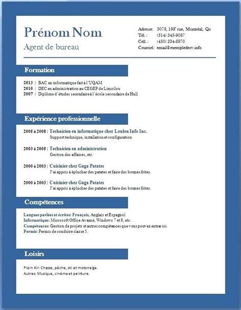 Exemple De Cv Francais Word by Cv Francais Exemple Word Mod 232 Le Cv D 233 Butant Degisco
