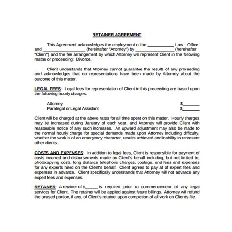 retainer fee agreement template retainer agreement 9 free documents in pdf