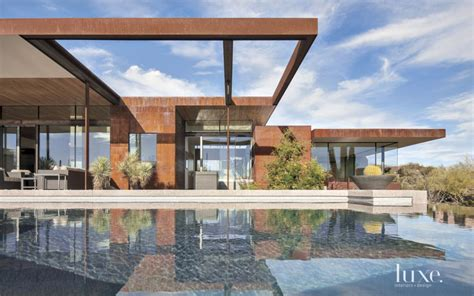 sefcovic residence is a luxurious desert style house contemporary brown front elevation with exposed steel