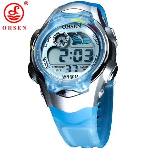 Alarm Silicon new ohsen 7 colors led backlight alarm date stopwatch blue