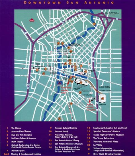 map of downtown san antonio texas downtown san antonio map tourist