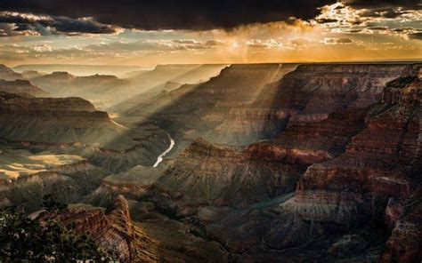 nature landscape clouds trees canyon grand canyon