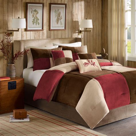 bed and bath com beautiful soft beige brown red modern chic 7 pc comforter