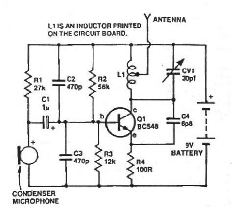single transistor fm transmitter circuit diagram one transistor fm microphone