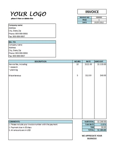 hourly service invoice template hourly invoice template hourly rate invoice templates free