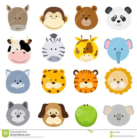 Set Of Cartoon Animals Faces. Vector Collection Of Cute