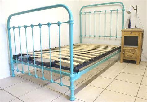 turquoise bed frame french single metal bed turquoise blue 3 ft 9 quot renovated