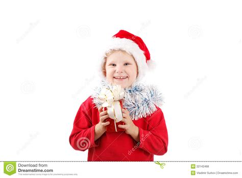 small santa with present royalty free stock photos image