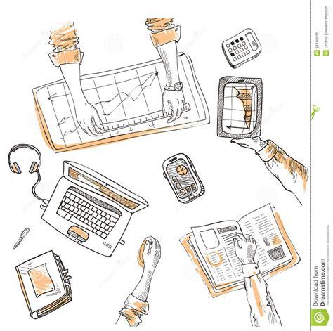 item doodle draw teamwork top view sketch stock