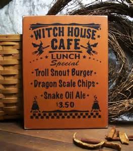 Wholesale Fall Decor - witch house cafe sign halloween wood plaque wall decor kitchen
