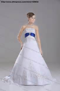 royal blue and silver wedding dresses discount silver embroidery white royal blue stain a line