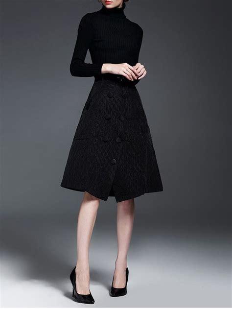 black two turtleneck plain sleeve midi dress