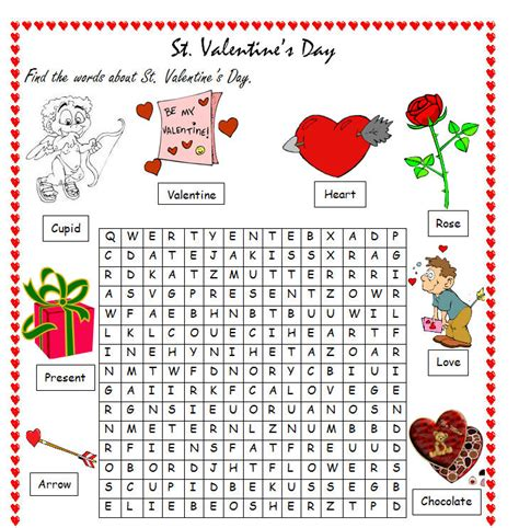 words for valentines day s day word search esl classroom ideas
