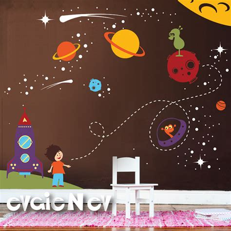 outer space wall stickers children wall sticker decal vinyl outer space theme with spaceship and astronaut