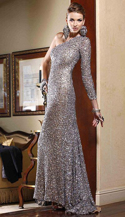 bg haute platinum  shoulder slim sequin prom dress