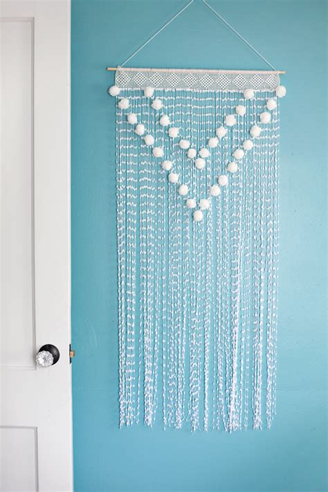 How To Make Handmade Wall Hangings - pom pom wall hanging a beautiful mess