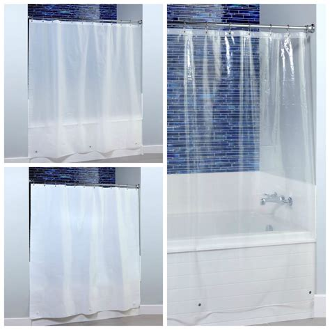 X Midweight Peva Shower Curtain Liner With Microban Clear White Frost Ebay