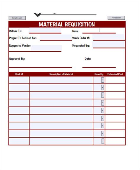 construction material request form template sle requisition forms