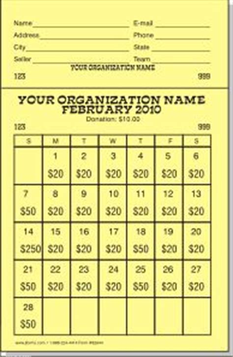 calendar raffle template theraffleticketstore quot large calendar quot raffle ticket