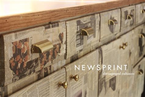 Decoupage With Newspaper - newsprint cabinets