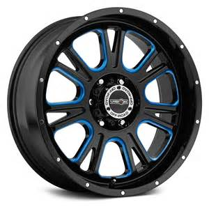Black Truck Wheels With Accents Vision Road 174 Fury Wheels Gloss Black With Blue