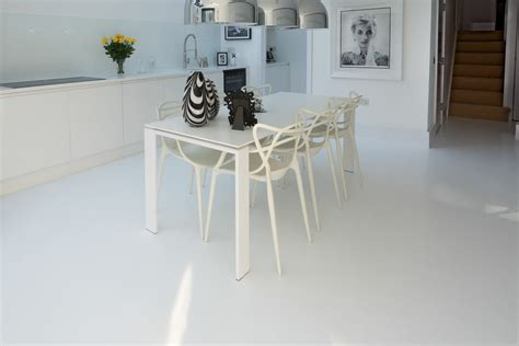 White resin comfort floor   Highbury, London   Poured