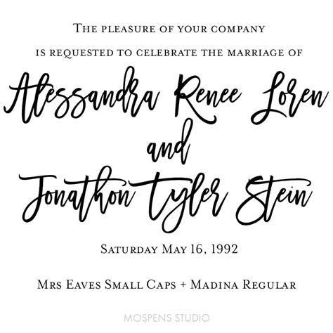 wedding font mrs eaves small caps font ideas 15 custom invitations unique wedding