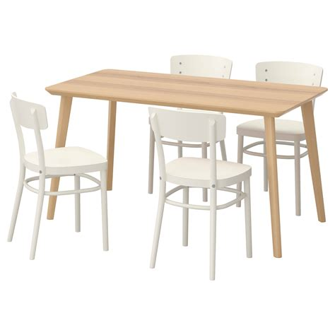 idolf lisabo table and 4 chairs ash veneer white 140x78 cm