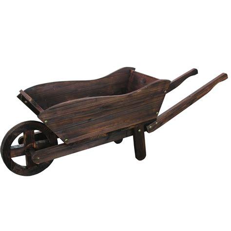 wooden wheelbarrow planter model xl115 lawn ornaments