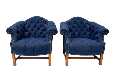 Navy Tufted Chair by Button Tufted Club Chairs In Navy Canvas For Sale At 1stdibs