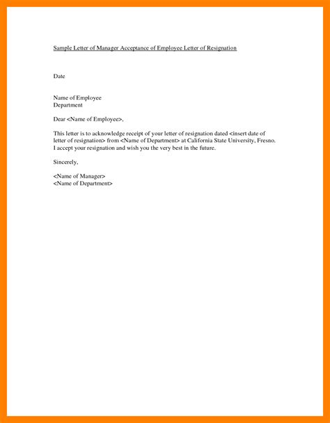 Acceptance Of Resignation Letter Draft 6 how to write a resignation letter to employer