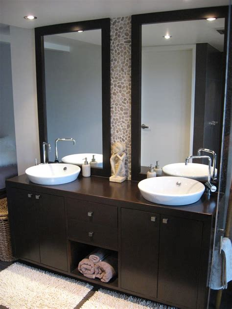 Bathroom Modern Bathroom Design Ideas With Dark Wood Two Vanity Bathroom Designs