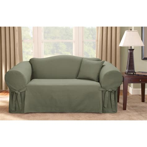 Minimalist Living Room With Dark Green Sure Fit Logan Sofa Living Room Sofa Covers