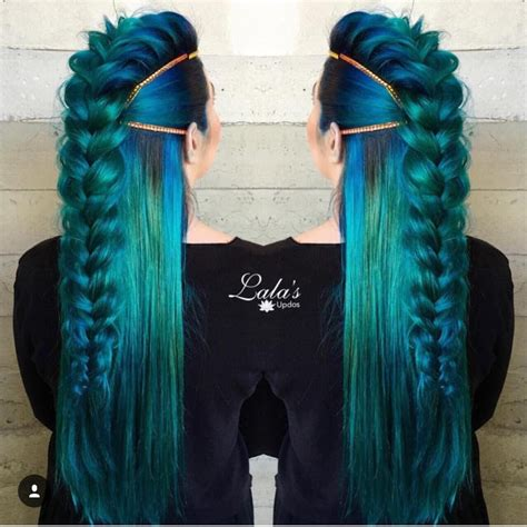 sapphire colored hair dye loose braid streaks ombre royal blue black emerald