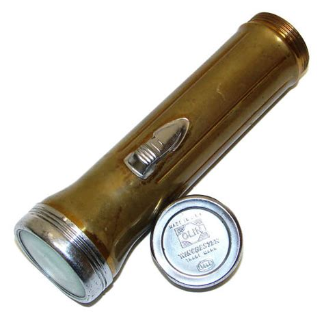 winchester olin winchester flashlight 2 cell brass chrome with slide