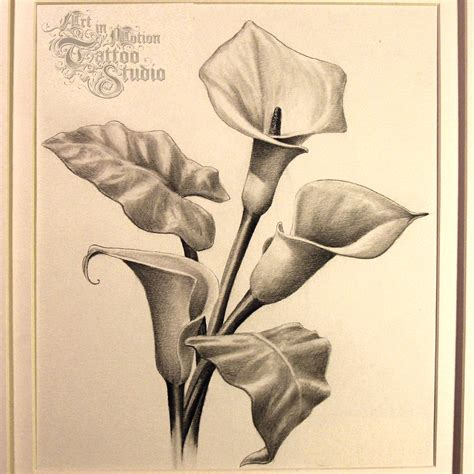calla lily and rose tattoo in motion studio custom designed tattoos