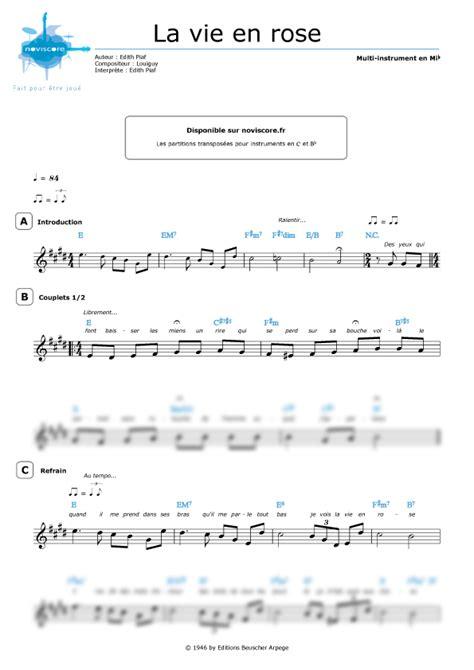 tutorial piano la vie en rose partition piano vie en rose