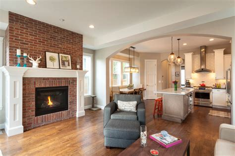 Living Room Ideas Brick Fireplace Camille Transitional Living Room Other By Cline
