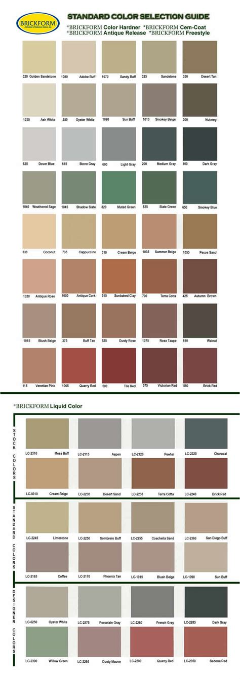 brickform color chart decorative concrete color chart brickform color chart