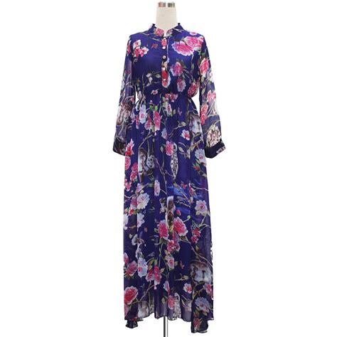 Mandarin Collar Floral Print Dress plus size royal blue floral print mandarin collar chiffon
