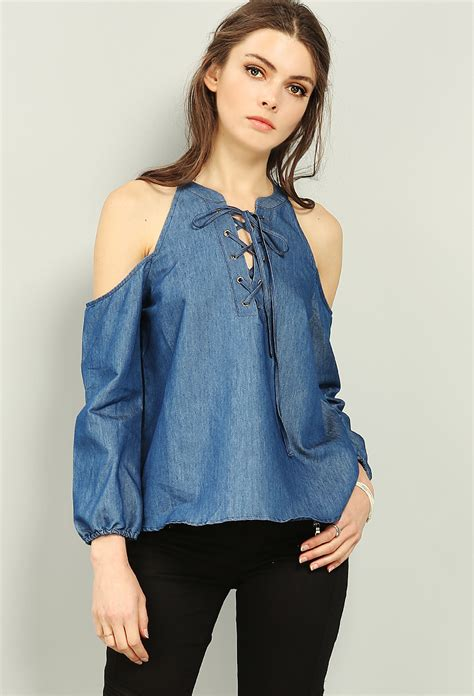Lace Up Denim Blouse open shoulder lace up denim blouse shop clothing at