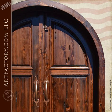 solid wood arched double doors handcrafted   usa