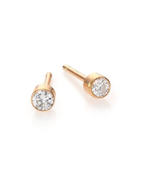 14k Yellow Gold Stud Earrings zoe chicco 14k yellow gold bezel stud earrings