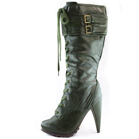 high heeled army boots army green high heel boots lace up zipper mid calf