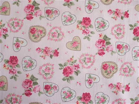 rose floral hearts 100 cotton fabric shabby chic vintage retro pm pink no3