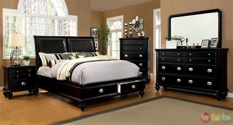 laguna modern black platform bedroom set with padded