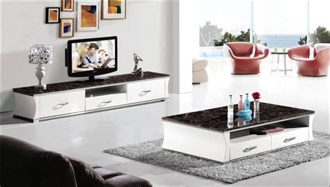 Modern Living Room Table Sets Modern Marble And Wood Furniture Set For Living Room Coffee Table And Tv Cabinet 2 Set