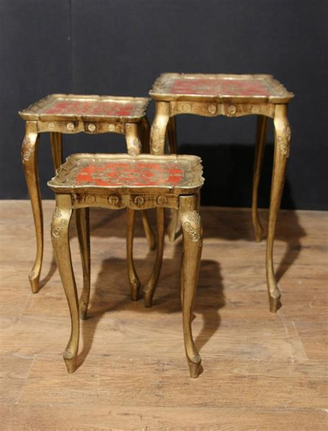 antique table ls 1930 antique italian gilt nest of tables side table painted