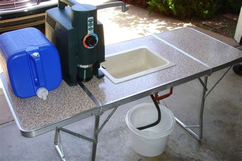 folding table with sink outdoor sink made out of folding table and bucket just