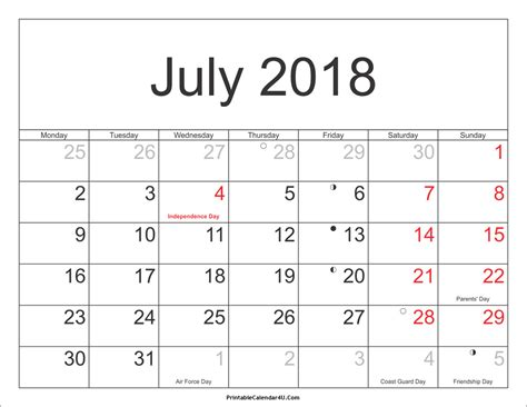 printable calendar 2018 with moon phases july 2018 calendar with holidays 2018 july calendar with